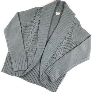 MOSSIMO Gray Cable Knit Shawl Cardigan L
